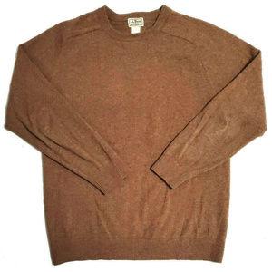 L.L. Bean Mens Wool Brown Crew Neck Sweater Size L